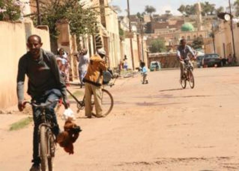 Cyclists in Asmara, Eritrea