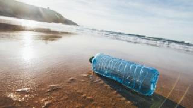 An empty bottle on a beach