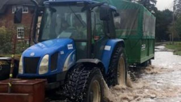 Picture of the tractor shared by Herefordshire Highways on Twitter