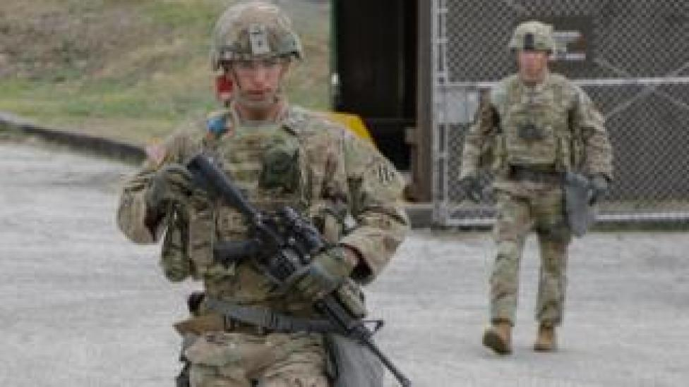 trump US troops at Camp Casey in April 2018