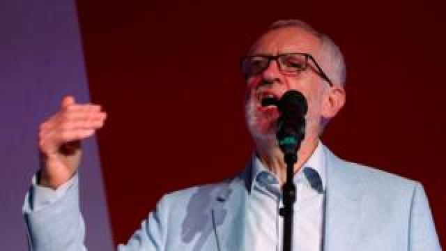 Britain's Labour party leader Jeremy Corbyn speaks at the opening rally