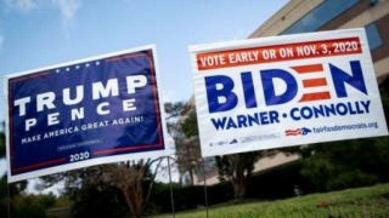 Campaign signs on display in Virginia, US