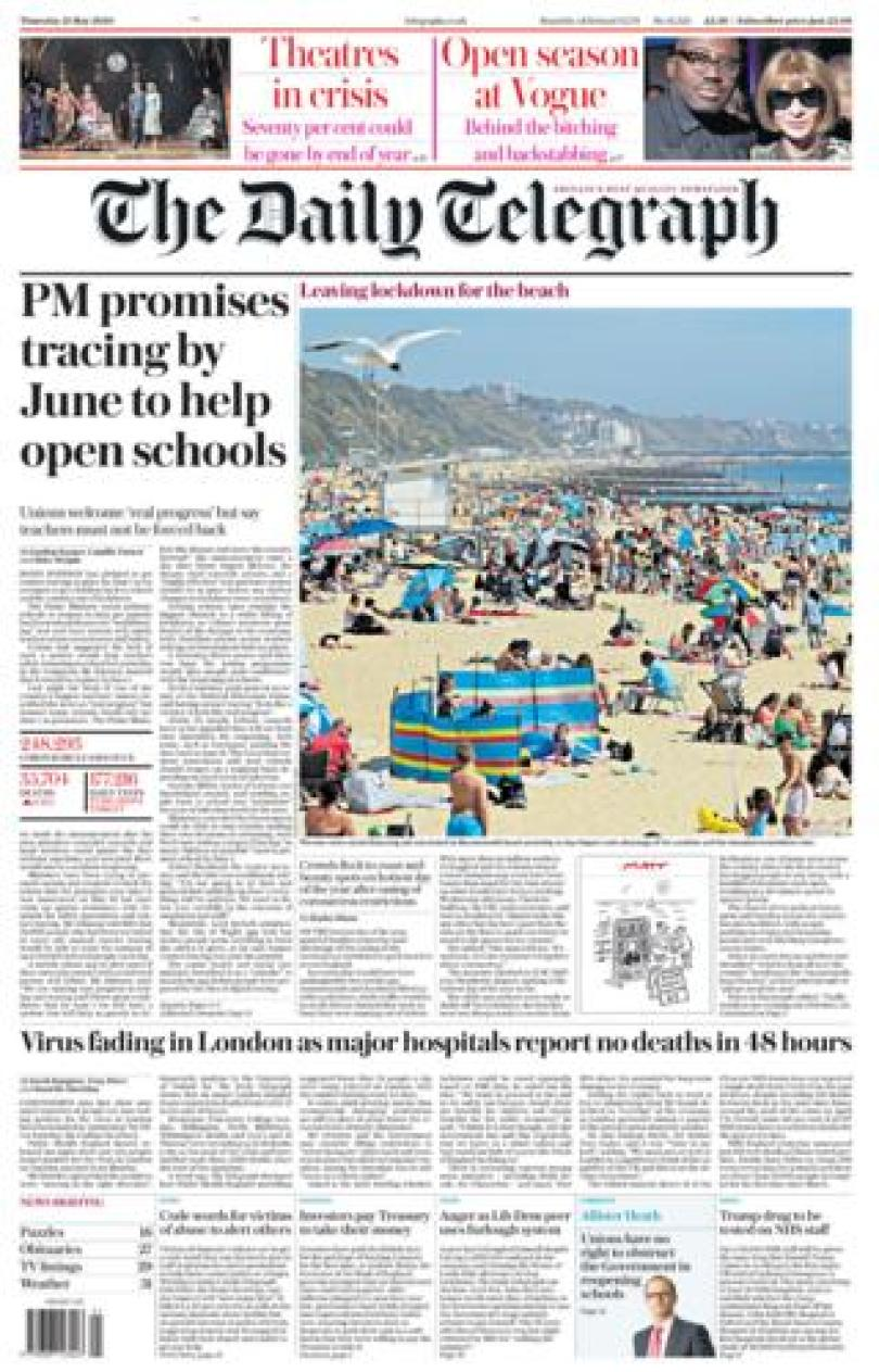 Daily Telegraph front page 21/05/20