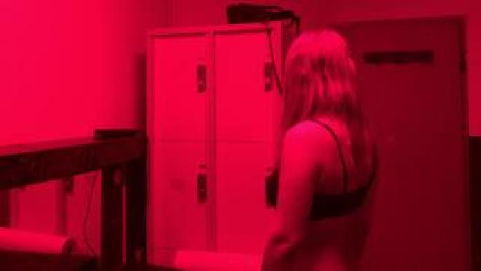 Woman working in red-light district