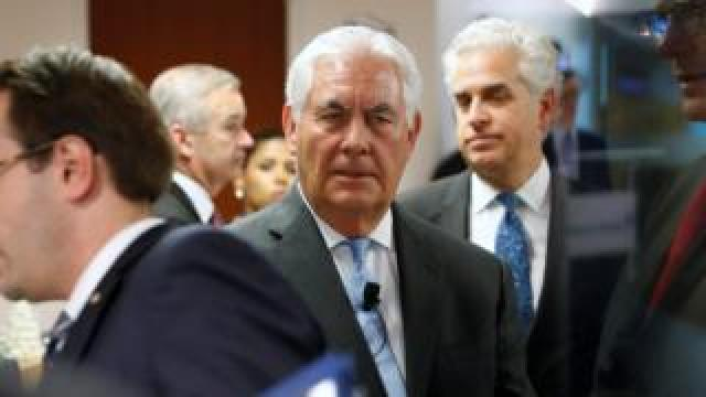 U.S. Secretary of State Rex Tillerson arrives to deliver remarks on the U.S.-Korea relationship during a forum at the Atlantic Council in Washington, U.S. December 12, 2017.