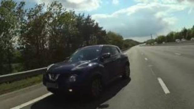 A car going the wrong way on the M25