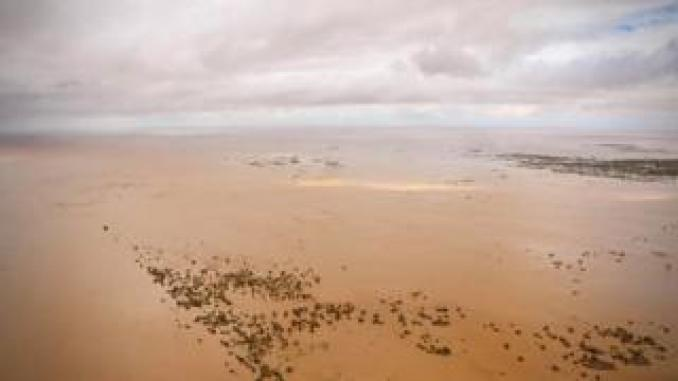 Submerged farmland near Beira