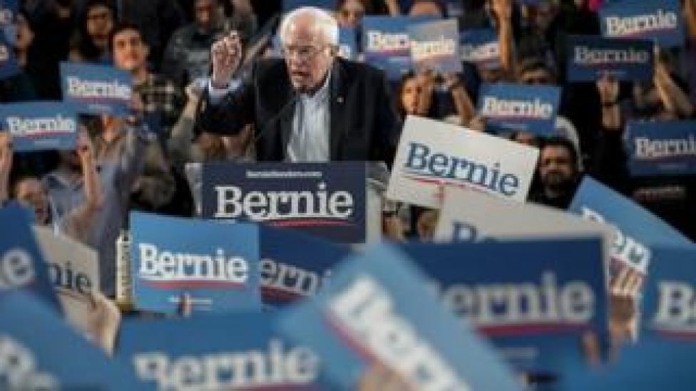 trump Bernie Sanders at a rally in Houston, Texas