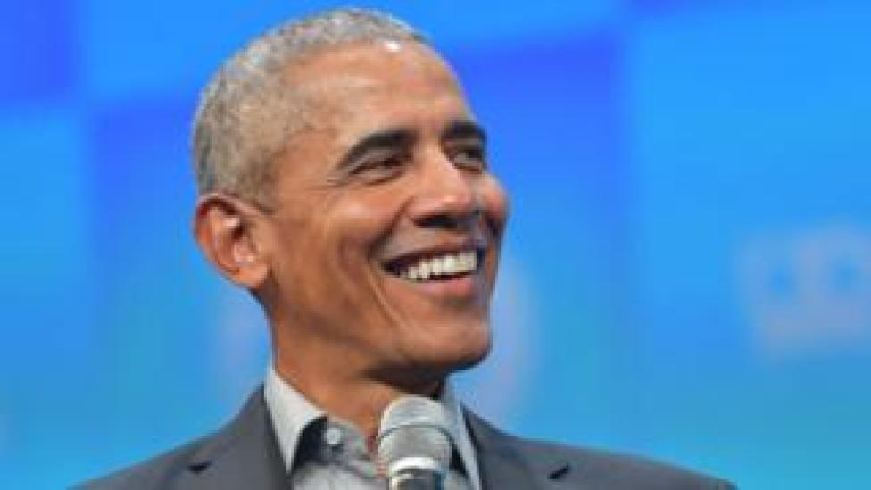 trump Barack Obama speaking in Germany in September 2019