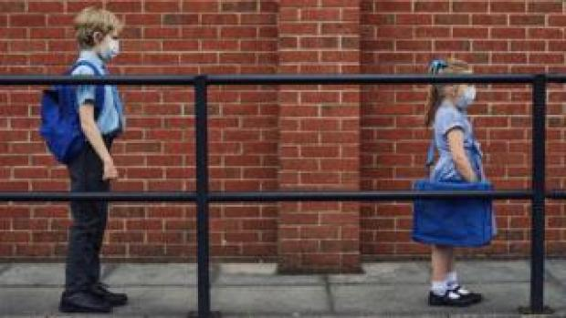School pupils socially distance