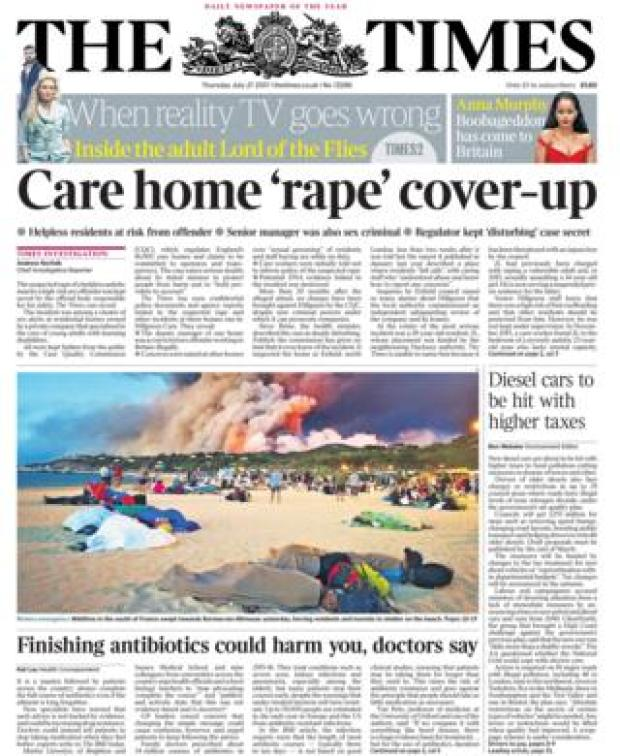 Times front page - 27/07/17