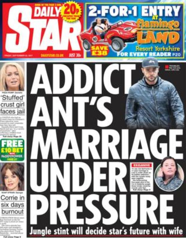 Daily Star front page 22/09/2017