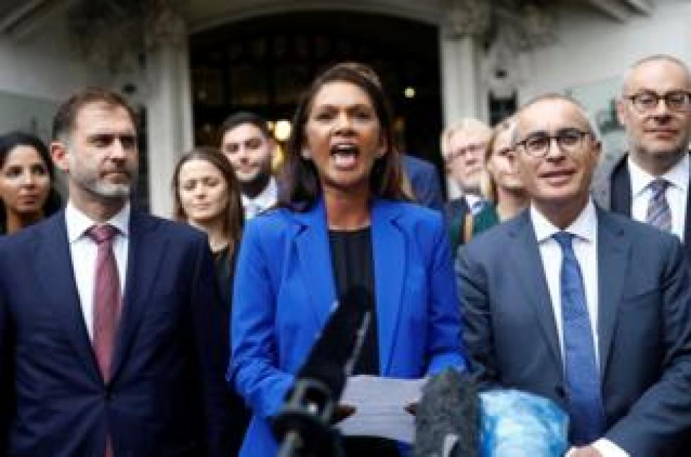 trump Campaigner Gina Miller talks to the media after the Supreme Court hearing on Boris Johnson's decision to prorogue parliament ahead of Brexit, in London. September 24, 2019