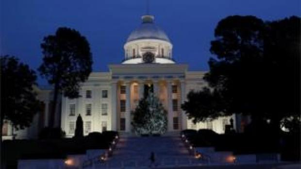 Abortion is being debated in the Alabama statehouse (pictured) as well as at 15 others across the US