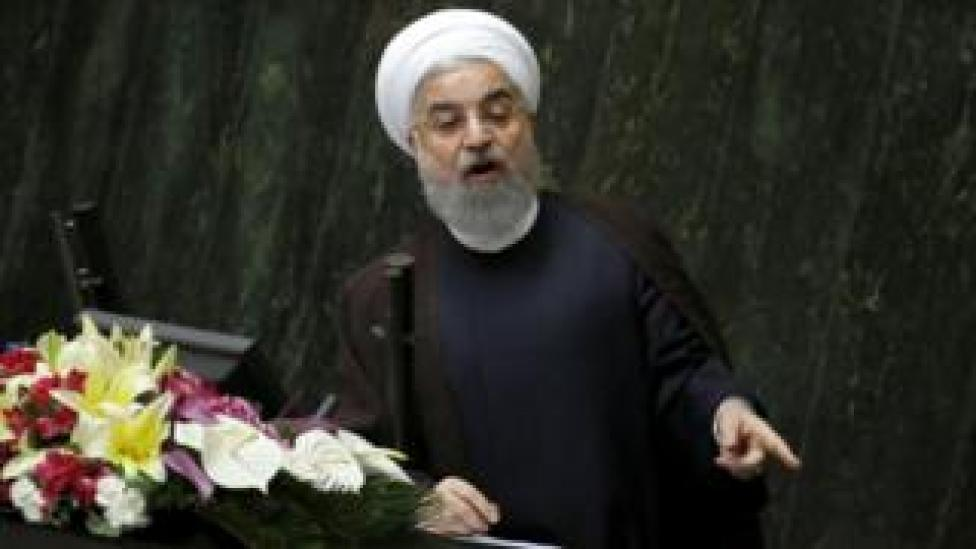President Hassan Rouhani addresses the Iranian parliament on 15 August 2017