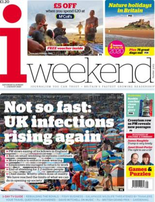 The i weekend front page 1 August