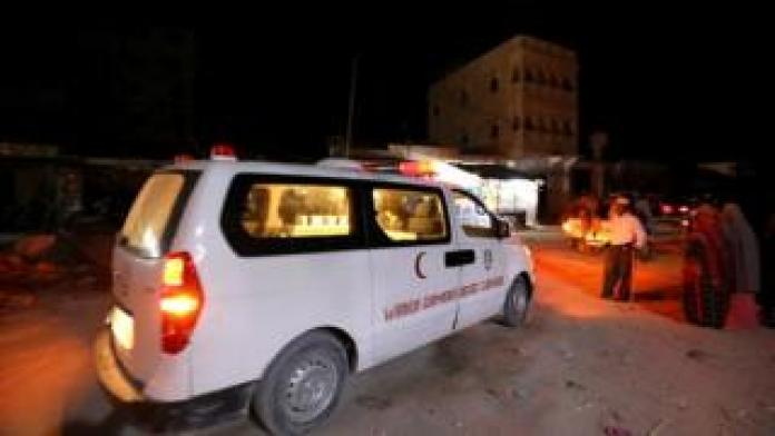 Emergency vehicle is pictured after a blast at the Elite Hotel in Lido beach in Mogadishu, Somalia August 16, 2020