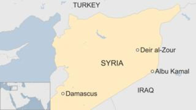 Map of Syria showing location of Albu Kamal