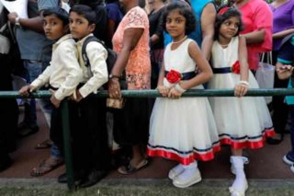 Twins wait in line to register at the Sri Lanka Twins event in Colombo, Sri Lanka, on 20 January 2020