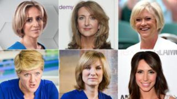 Emily Maitlis, Victoria Derbyshire, Sue Barker, Clare Balding, Fiona Bruce and Alex Jones