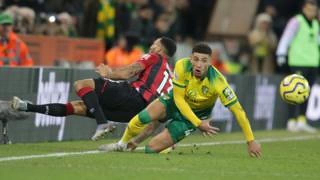 Ben Godfrey of Norwich City is sent off following this tackle on Callum Wilson of Bournemouth