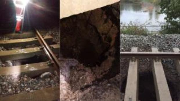 three photos of hole in railway line