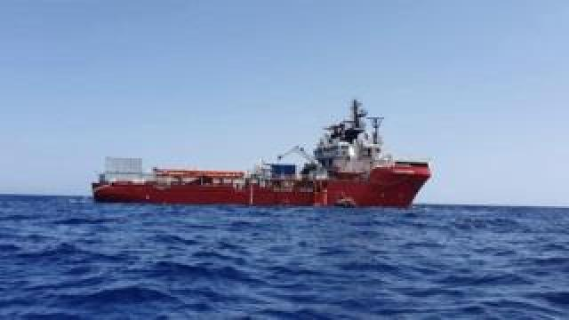 A handout photo made available by the NGO organisation Medecins Sans Frontieres (MSF) showing the Ocean Viking vessel at sea on 23 August 2019