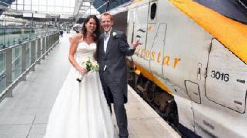 Newlyweds Tom and Suzanne Croft boarded a Eurostar train to their wedding reception