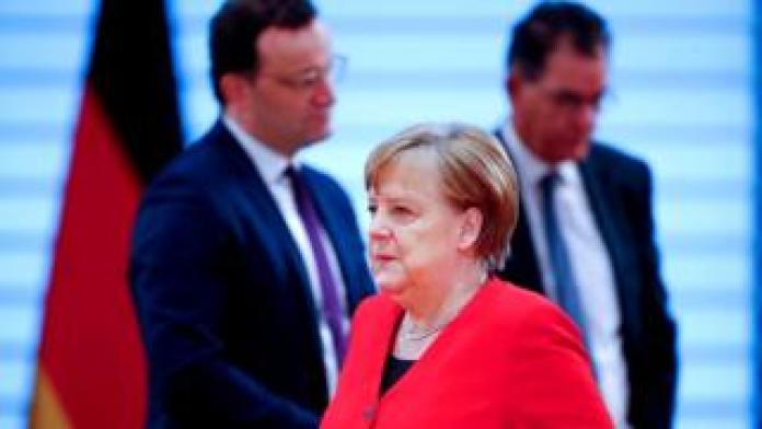 German Chancellor Angela Merkel attends the weekly cabinet meeting, as the spread of the new coronavirus disease (COVID-19) continues, in Berlin, Germany, May 6, 2020