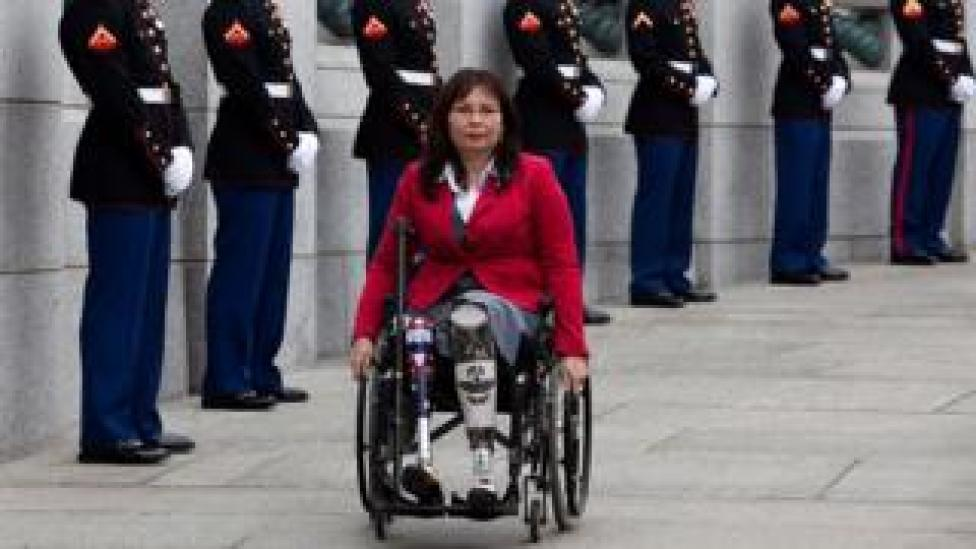 Tammy Duckworth arrives at a World War II Memorial ceremony to pay tribute to World War II veterans of the Pacific on March 11, 2010