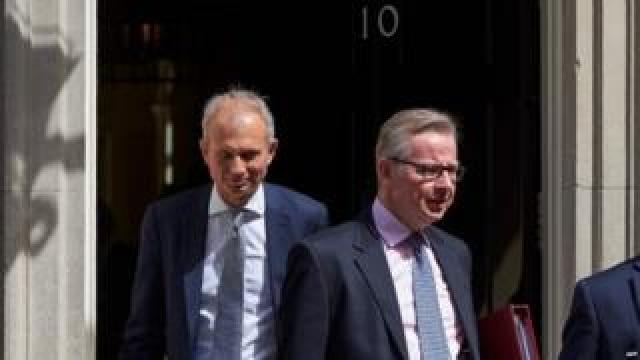 David Lidington (left) and Michael Gove leaving Downing Street