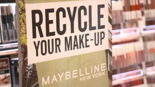 'Recycle your make-up' Maybelline sign