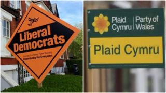 Liberal Democrat and Plaid Cymru signs