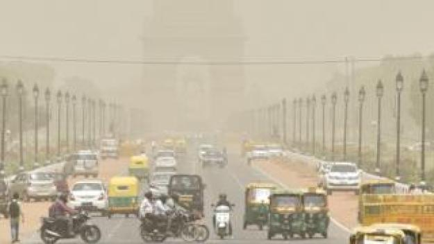 A view of India Gate engulfed in haze at Rajpath, on June 13, 2018 in New Delhi, India