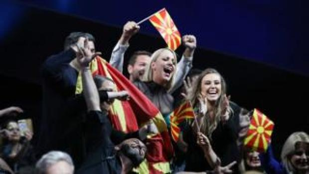 Tamara Todevska (centre) from North Macedonia