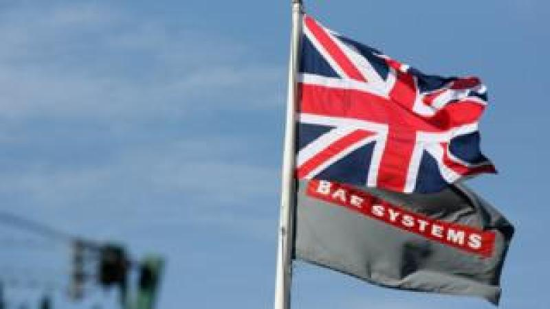 A Union Jack and BAE Systems flag