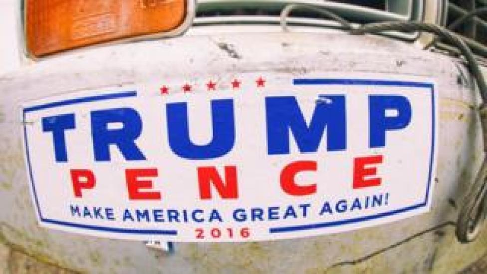 Bumper sticker reading: TRUMP, PENCE, Make America Great Again