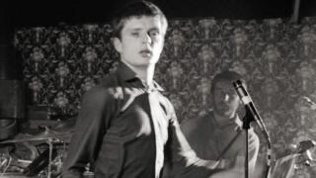 Ian Curtis and Peter Hook in Joy Division