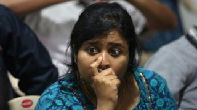 Isro employee reacts after the communication and data were lost from the vikram lander at ground station Indian Space Research Organization (ISRO) Telementry Tracking and Command Network (ISTRAC) Command Centre in Bangalore, India, 07 September 2019.