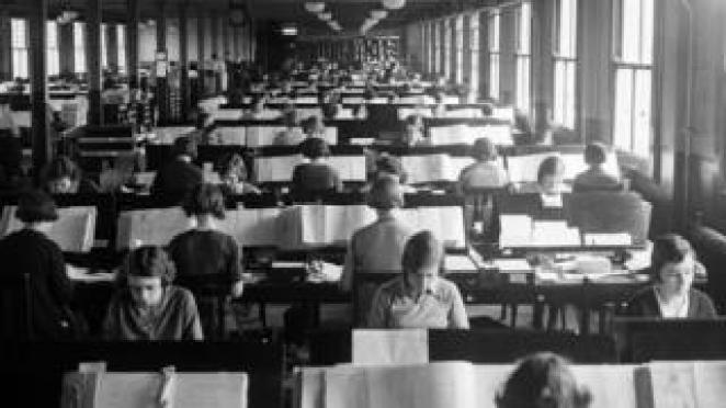 Hundreds of women at work at the Pensions Office (Registrar General's Office) in Acton, London, compiling information from the Census of April 1931.