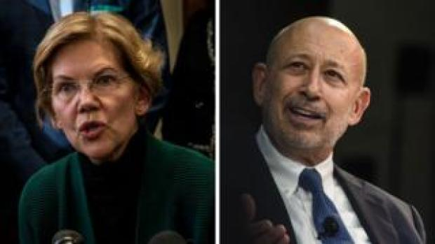 Elizabeth Warren and Lloyd Blankfein composite image