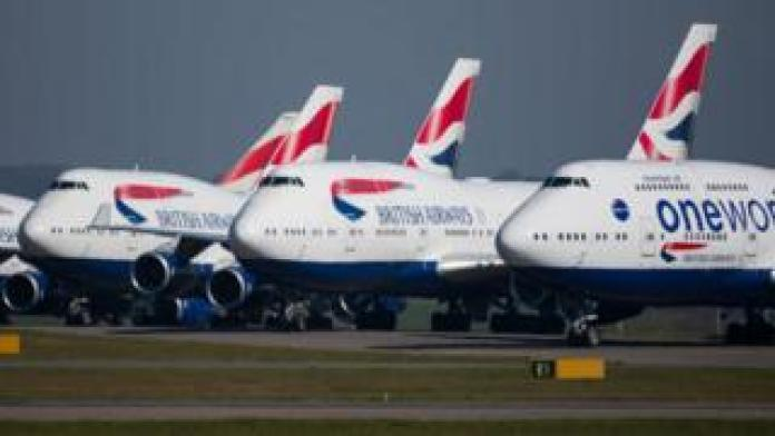 BA planes on the ground