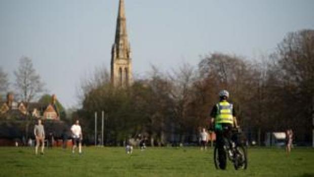 Policeman in park