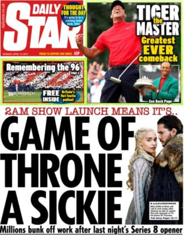 Daily Star front page, 15/4/19