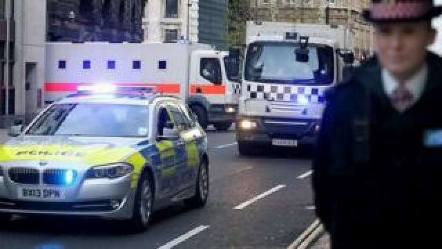 Prison van leaves the Old Bailey in London