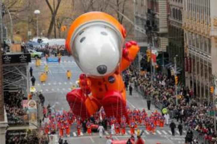The Snoopy balloon at the Macy's Parade
