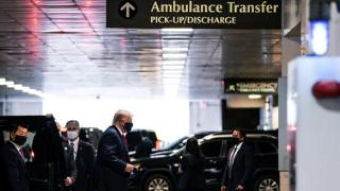 US President Donald Trump arrives at the New York Presbyterian Hospital to visit his younger brother Robert Trump in New York City