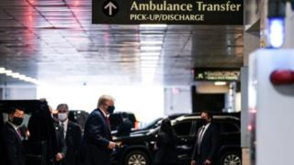trump US President Donald Trump arrives at the New York Presbyterian Hospital to visit his younger brother Robert Trump in New York City