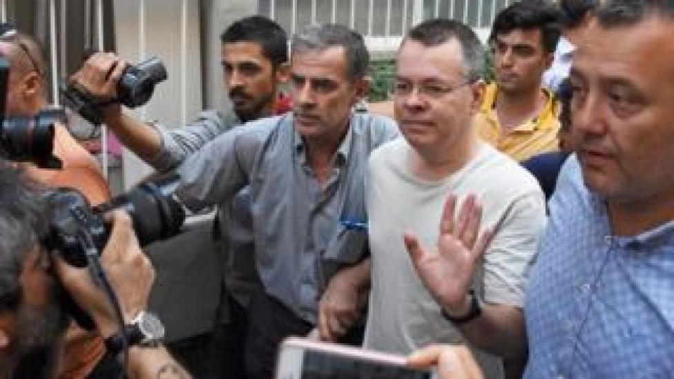 NEWS U.S. pastor Andrew Brunson reacts as he arrives at his home after being released from the prison in Izmir, Turkey July 25, 2018