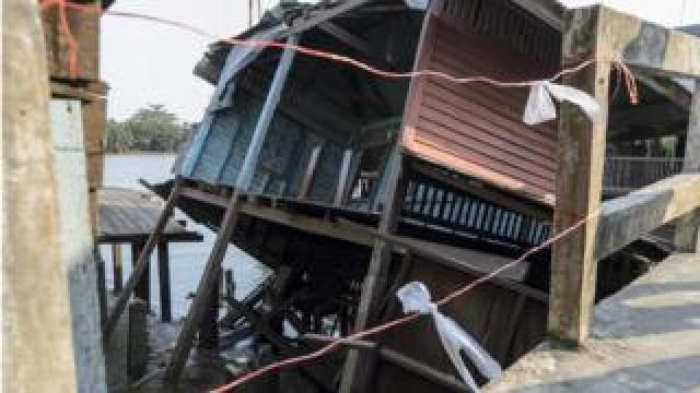 Collapsed house due to subsidence